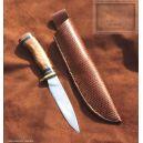 couteau de chasse, droit manche en bois de chene et corne