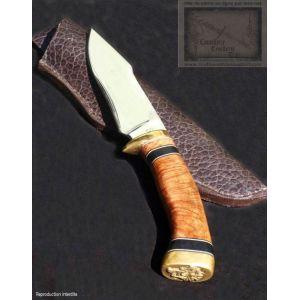 couteau de camp,manche en racine de bruyere et ebene