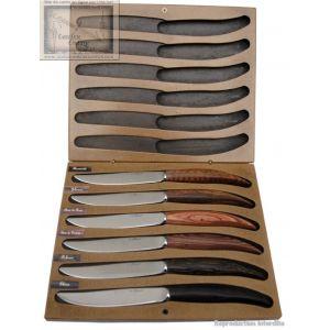 couteau le perigord, Coffret 6 Couteaux Steak Multi Essences