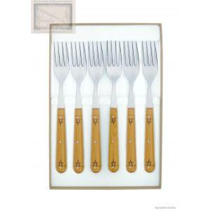 couteau nontron,coffret de 6 fourchettes de table,manche en buis