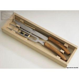 couteaux Jean Dubost, service a decouper,le Thiers en olivier