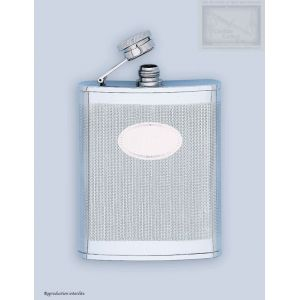 flasque inox, 180ml, guilloche avec ecusson