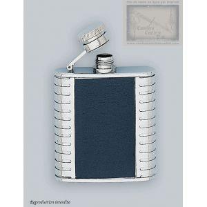 flasque inox, 75ml,gainee cuir, bouchon baionnette