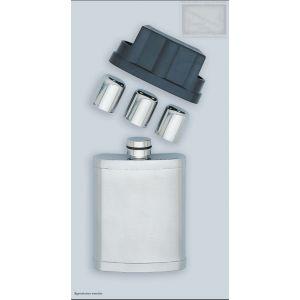 flasque inox uni, 210ml, avec 3 gobelets