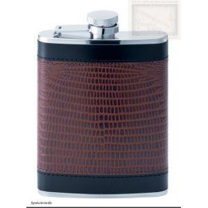 flasque inox,180ml, gainee cuir 2 tons, bouchon baionnette