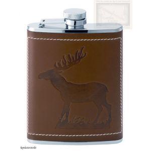 flasque inox,180ml, gainee cuir deco cerf, bouchon baionnette