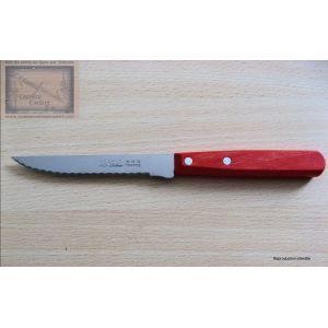 Couteau steak Nogent trois étoiles, bois couleur rouge lame crantée 11cm