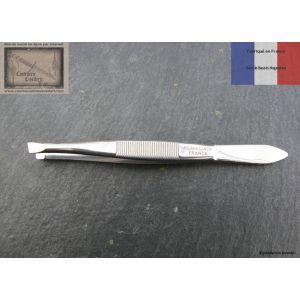 Pince à épiler de Nogent en inox 9cm mors biais