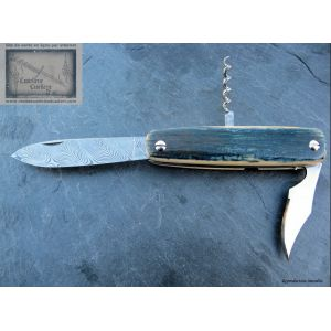Canif Mongin 10cm 3 pièces en Mammouth Bleu Lame Damas