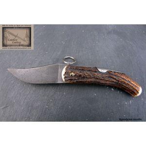 Cornillon Mongin manche 13cm en bois de cerf lame et ressort damas