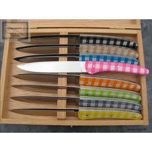 coffret de 8 Couteaux Chignore de table Vichy David Ponson