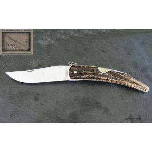 Cornillon Mongin 14 cm, manche en bois de cerf, culot phaco, Couteau Mongin